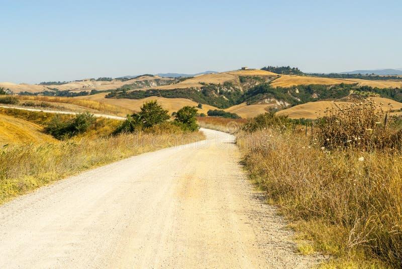 克利特senesi,特色景观在Val d'Orcia 库存照片