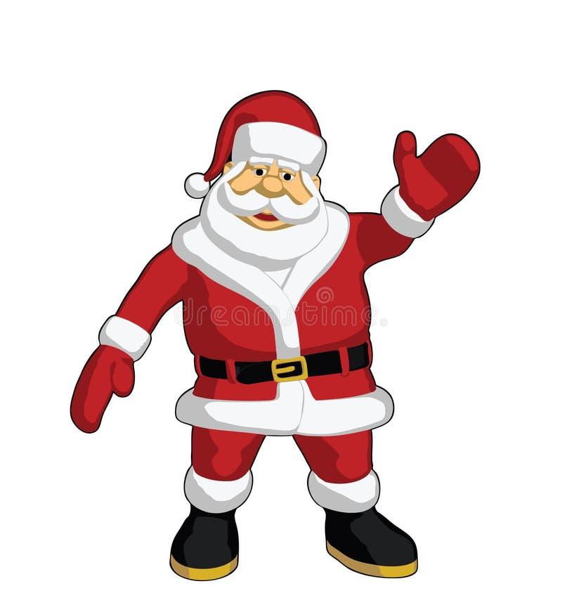 克劳斯・圣诞老人挥动 向量例证