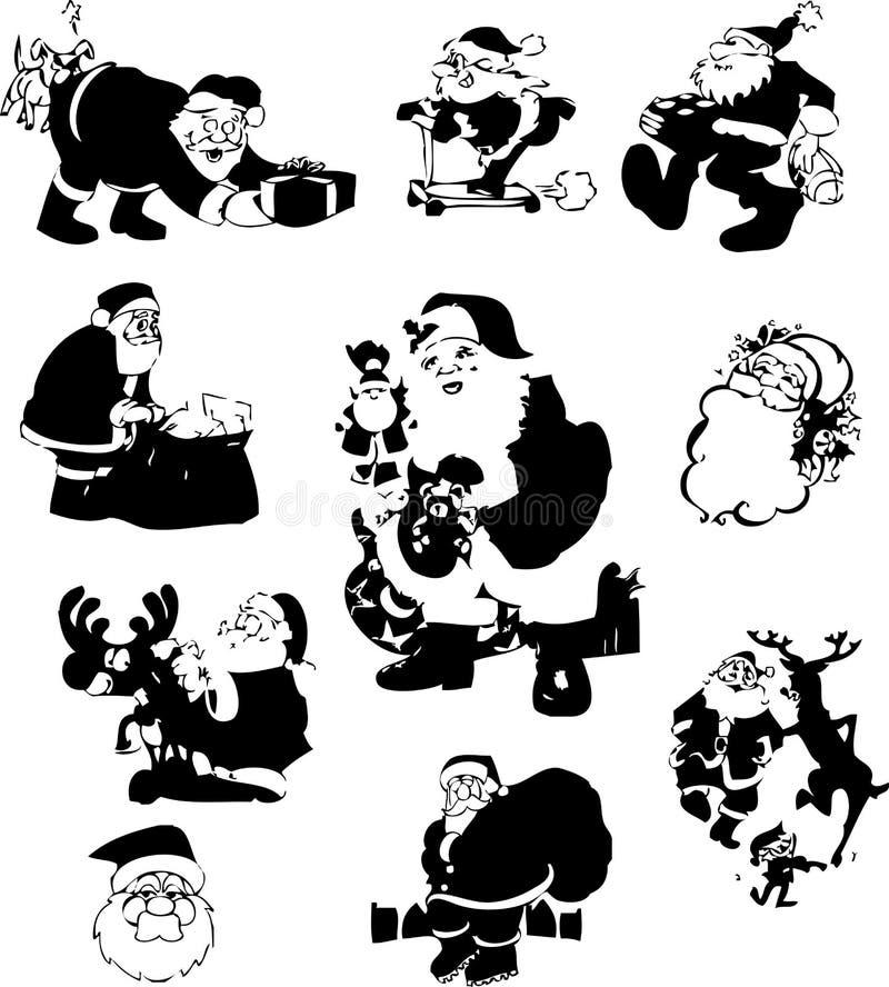 克劳斯・圣诞老人silouettes 向量例证