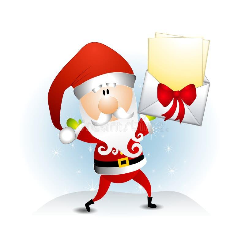 克劳斯在圣诞老人上写字 皇族释放例证
