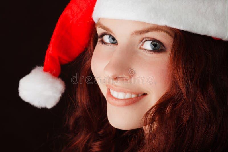 克劳斯女孩帽子圣诞老人年轻人 免版税库存图片