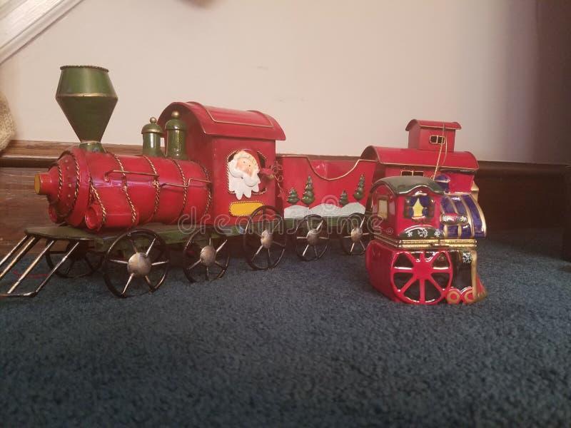克劳斯对城镇的以后的圣诞老人 库存照片