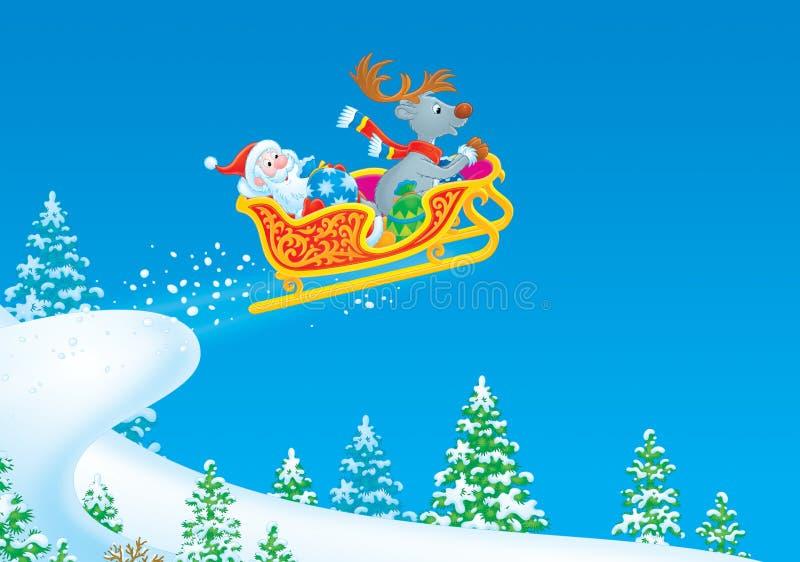克劳斯飞行驯鹿圣诞老人雪橇 向量例证