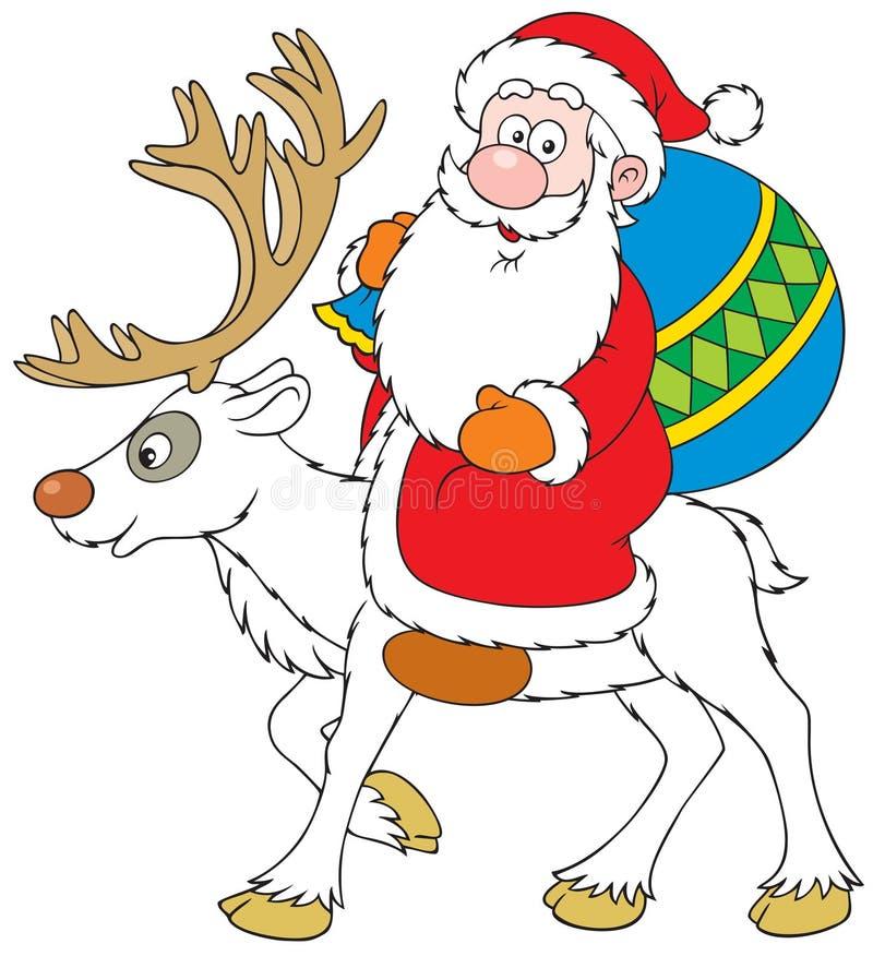 克劳斯驯鹿骑马圣诞老人 库存例证