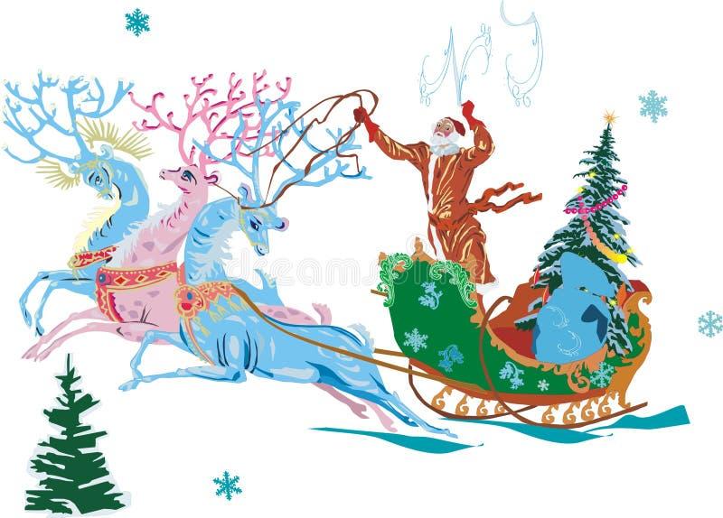 克劳斯deers圣诞老人 向量例证