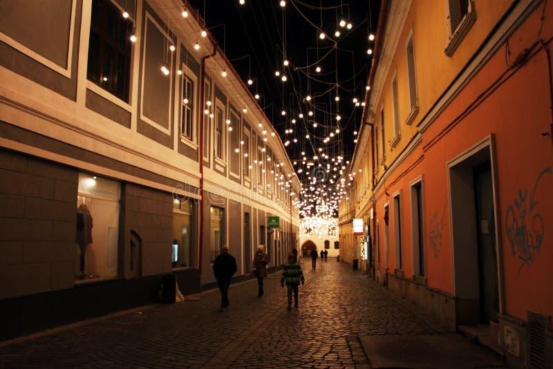 克卢日-纳波卡在夜之前,特兰西瓦尼亚,罗马尼亚 免版税库存图片