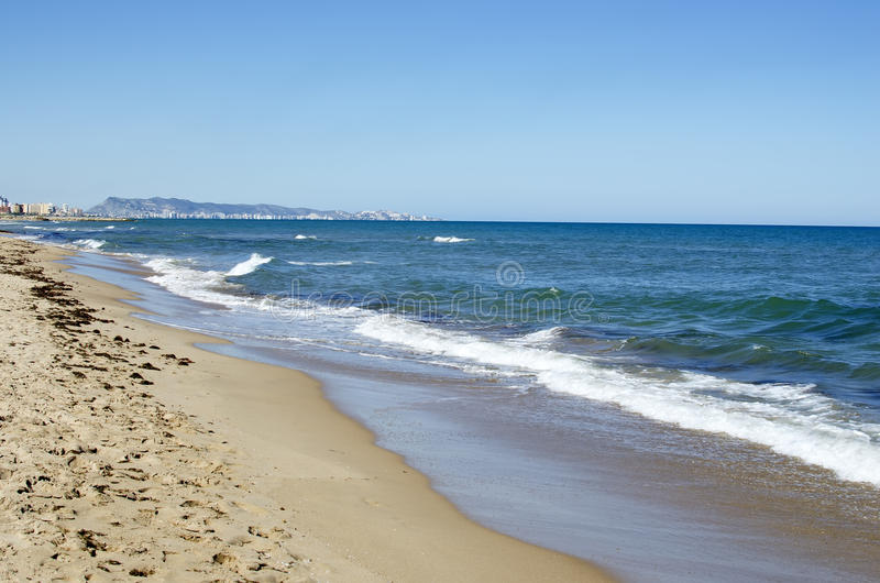 克塞拉科海滩,巴伦西亚,西班牙 免版税库存图片