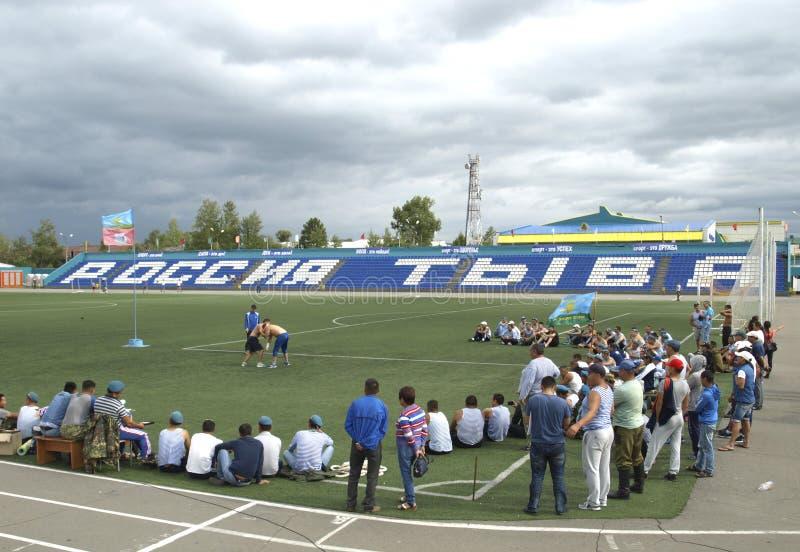 克孜勒 图瓦共和国 俄国 在搏斗Huresh的竞争 库存图片