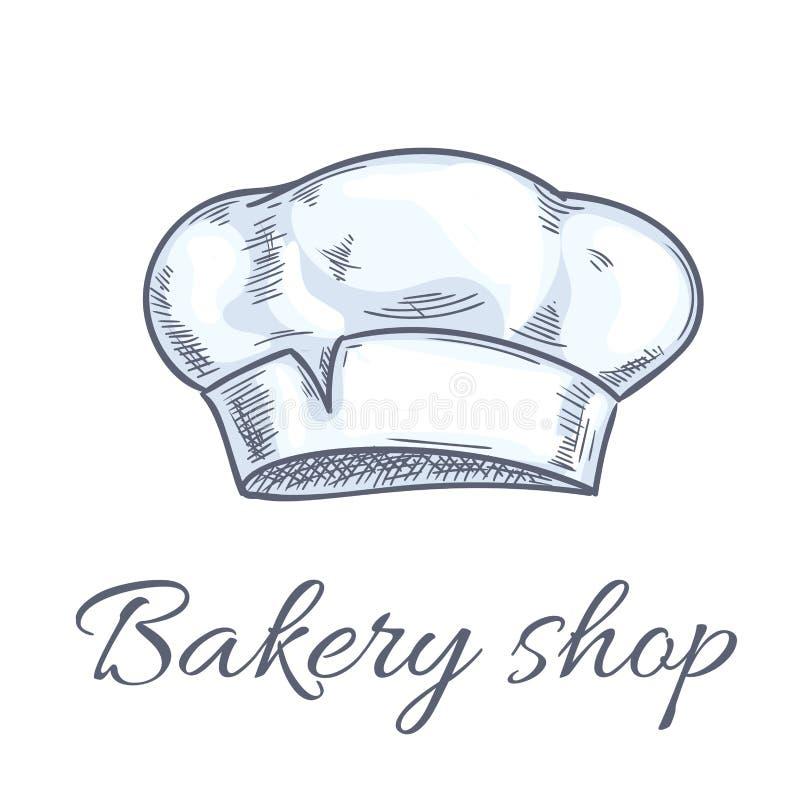 贝克帽子面包店商店象征的传染媒介剪影 向量例证