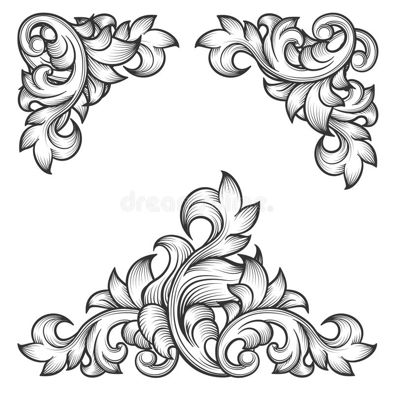 巴洛克式的叶子框架漩涡装饰设计元素 库存例证