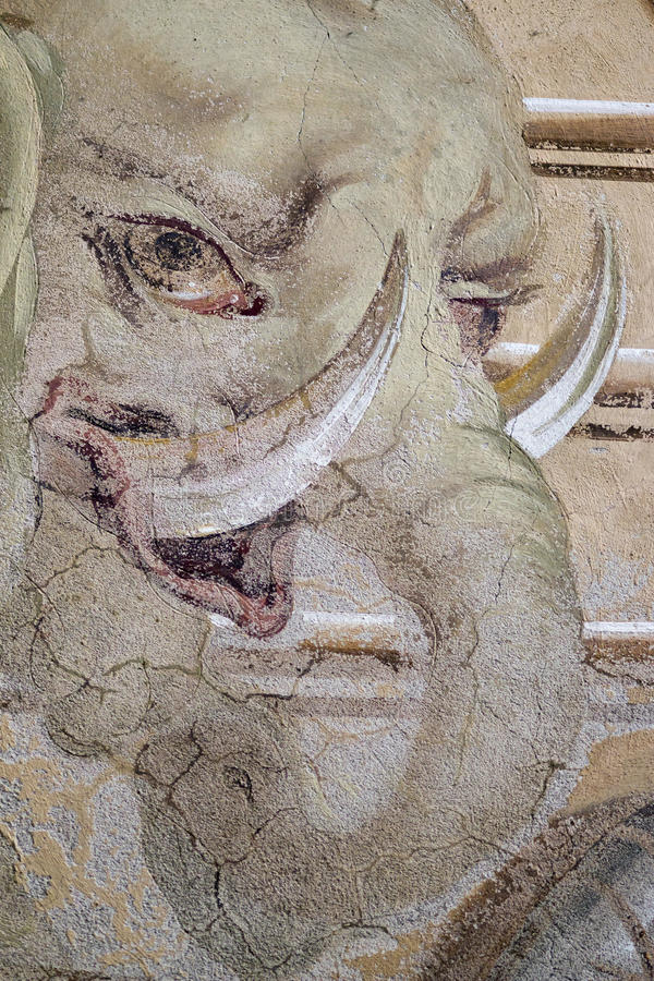 巴洛克式的壁画-大象-非洲的讽喻 库存图片