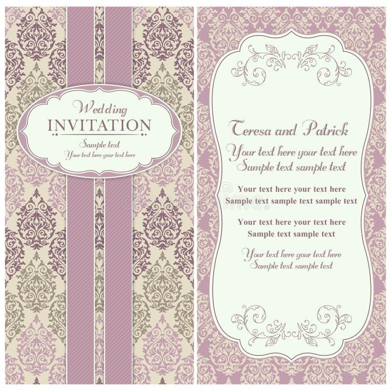 巴洛克式的婚礼邀请、桃红色和灰棕色 库存例证
