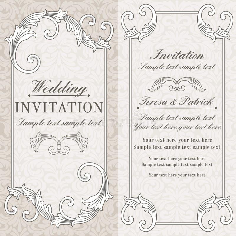 巴洛克式的婚礼邀请、灰色和灰棕色 库存例证