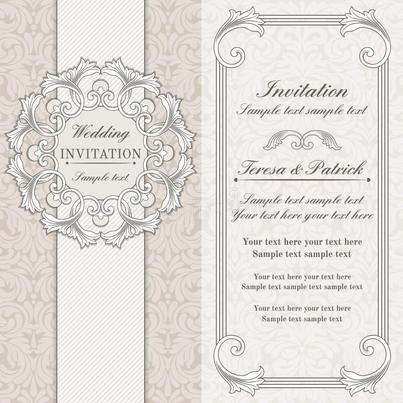 巴洛克式的婚礼邀请、灰色和灰棕色 皇族释放例证