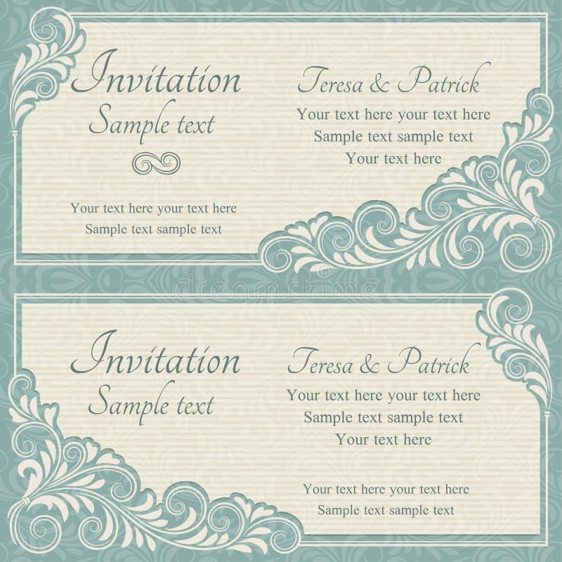 巴洛克式的婚礼邀请、蓝色和灰棕色 皇族释放例证