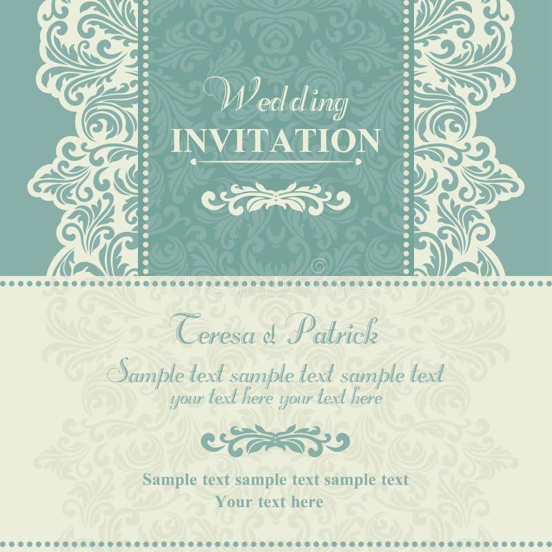 巴洛克式的婚礼邀请、蓝色和灰棕色 向量例证
