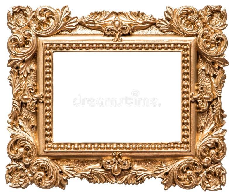 巴洛克式的样式金黄画框 葡萄酒艺术对象 免版税图库摄影