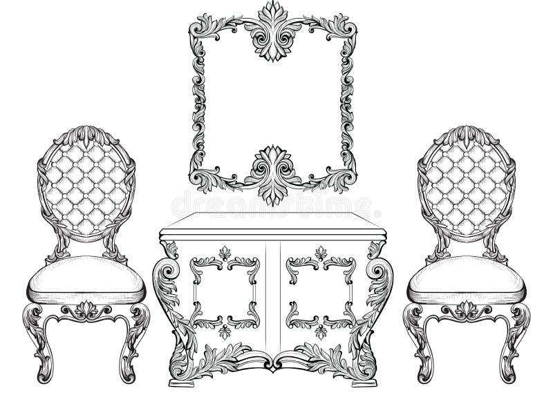 巴洛克式的豪华样式家具梳妆台和椅子设置了汇集 与豪华富有的装饰品的室内装饰品 向量例证