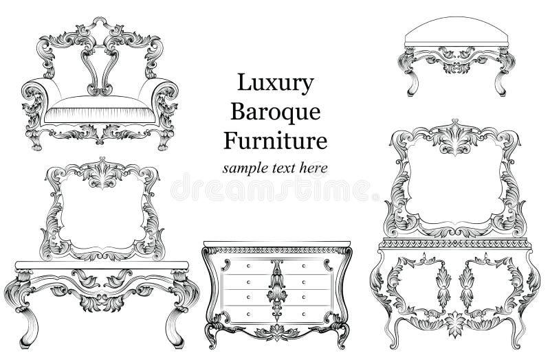 巴洛克式的豪华样式家具集合收藏 与豪华富有的装饰品的室内装饰品 法语被雕刻的装饰 皇族释放例证