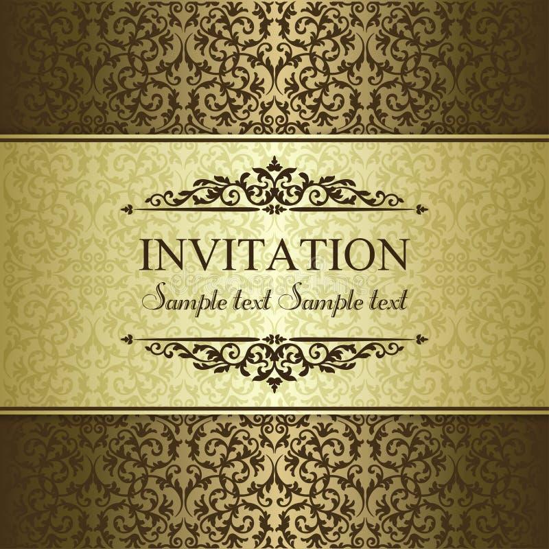 巴洛克式的邀请、金子和褐色 库存例证