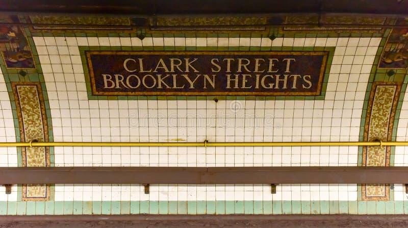 克拉克街驻地-纽约地铁 库存照片