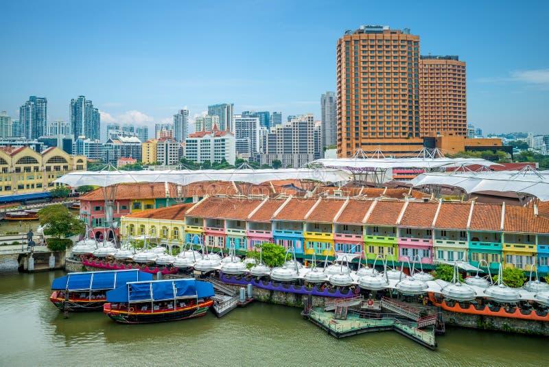 克拉码头鸟瞰图在新加坡 库存图片