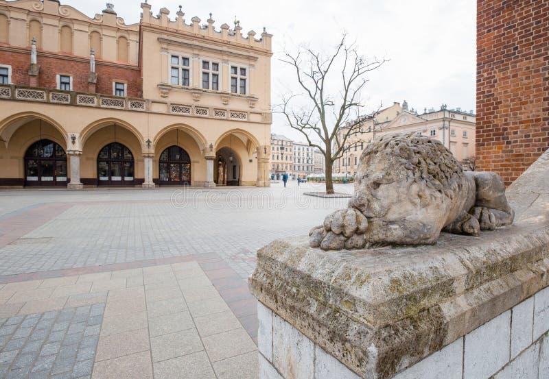 克拉科、波兰市政厅塔和苏基恩尼斯,波兰的历史中心,一座古老建筑的古镇 免版税库存照片