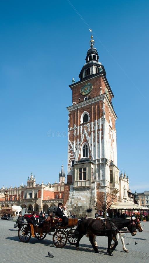 克拉科夫玛丽老s方形st城镇 库存照片