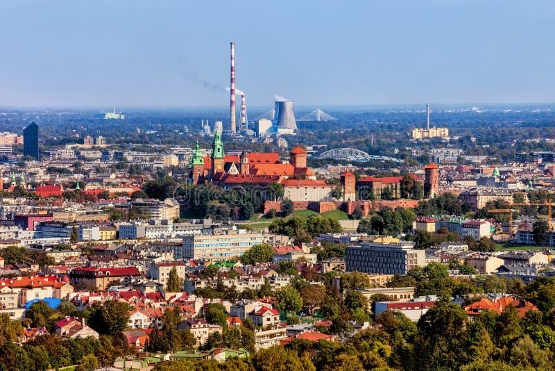 克拉科夫鸟瞰图城市 免版税库存照片