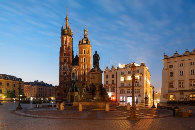 克拉科夫,主要集市广场 库存照片