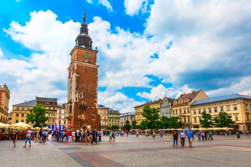 克拉科夫,波兰主要集市广场,城镇厅 库存图片