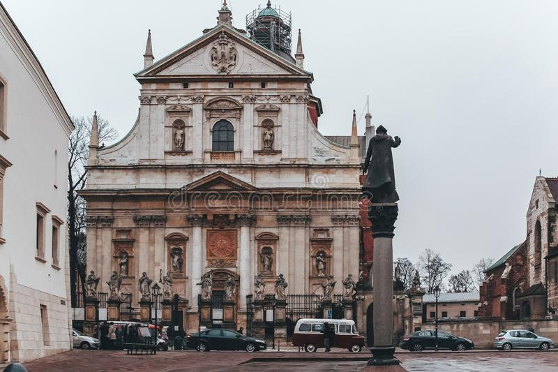 克拉科夫,波兰,2013年1月03日 圣皮特圣徒・彼得和圣保罗教会  这是最大的Krak历史的教会  免版税图库摄影