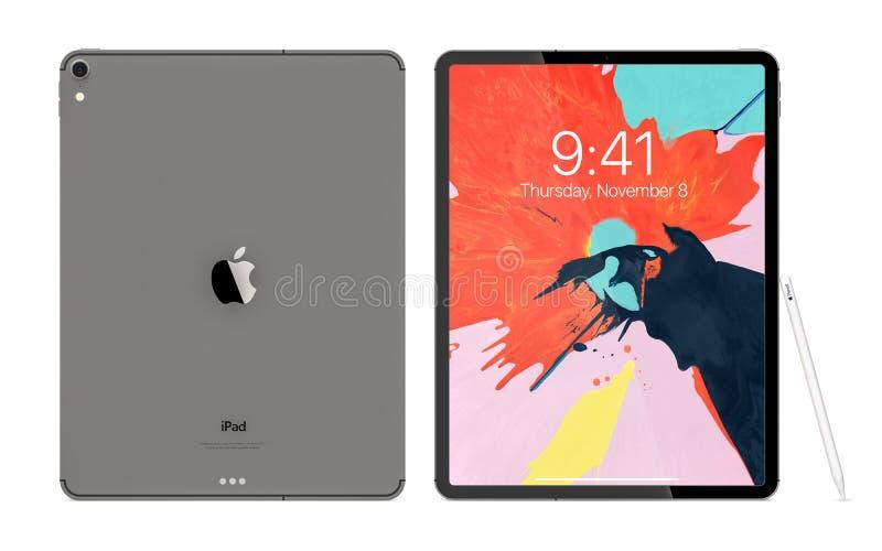 克拉科夫,波兰- 2018年11月31日:赞成iPad片剂的一个新版本从苹果计算机的 库存照片