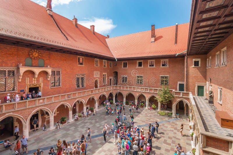 克拉科夫(克拉科夫) -波兰哥特式委员会Maius-Jagiellonian大学 库存图片