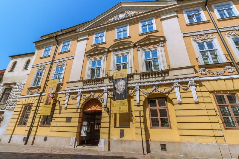 克拉科夫(克拉科夫) -波兰教皇haus - Kanonicza街道 免版税库存照片