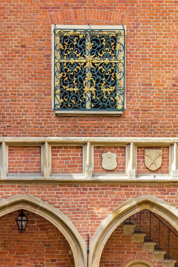 克拉科夫(克拉科夫) -波兰Jagiellonian砖建筑学大学 免版税库存图片