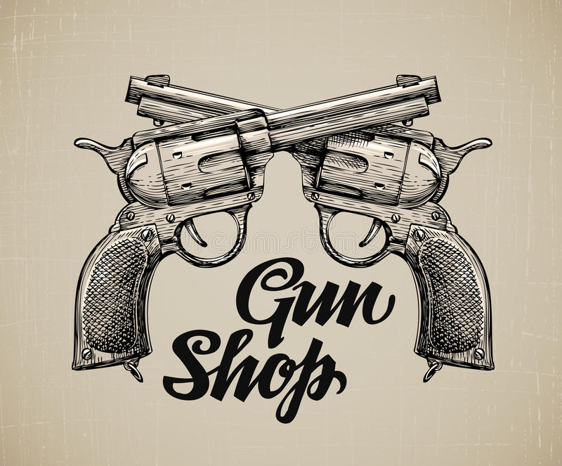 克服的手枪 手拉的剪影枪 也corel凹道例证向量 库存例证