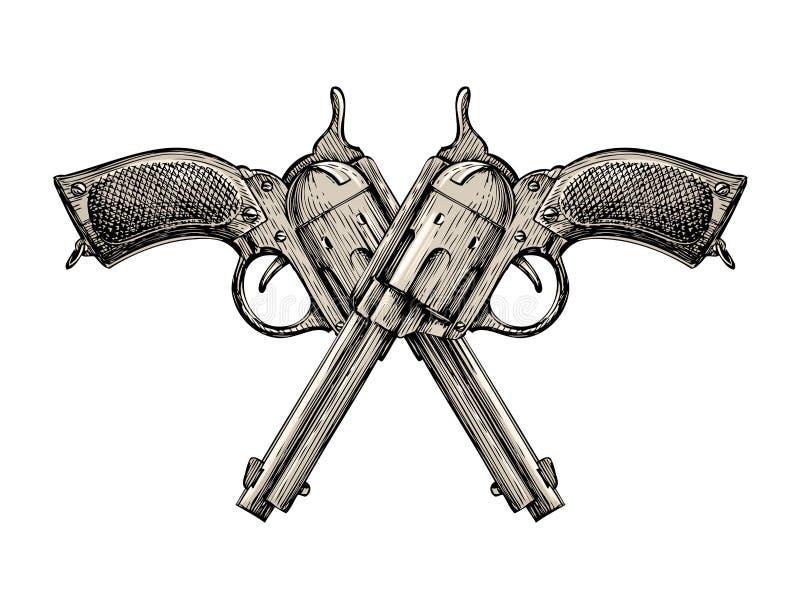 克服的手枪 葡萄酒传染媒介枪,手枪,手枪 减速火箭的左轮手枪 皇族释放例证