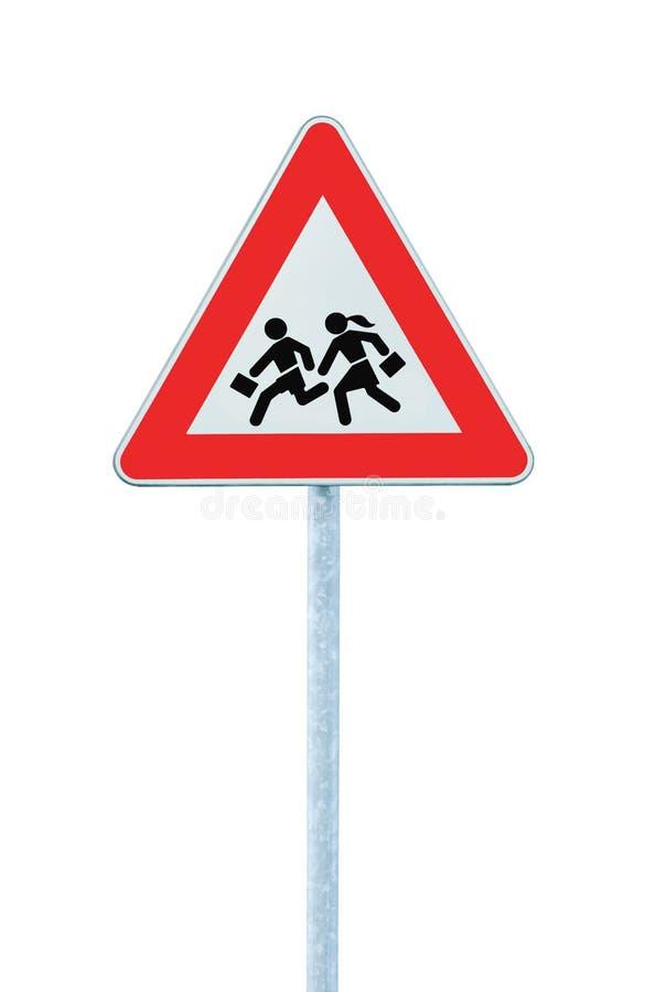 克服的查出的路旁学校符号警告 库存图片