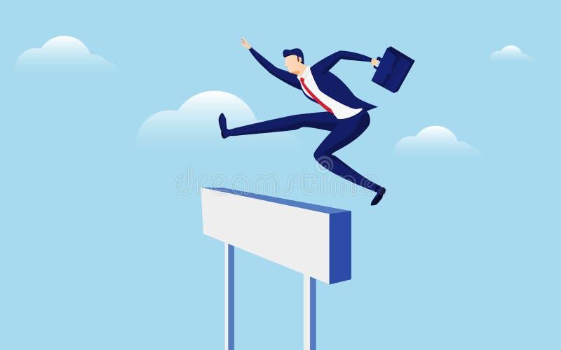 克服障碍和成功概念 拿着公文包的商人跳过跨栏赛跑障碍 库存例证