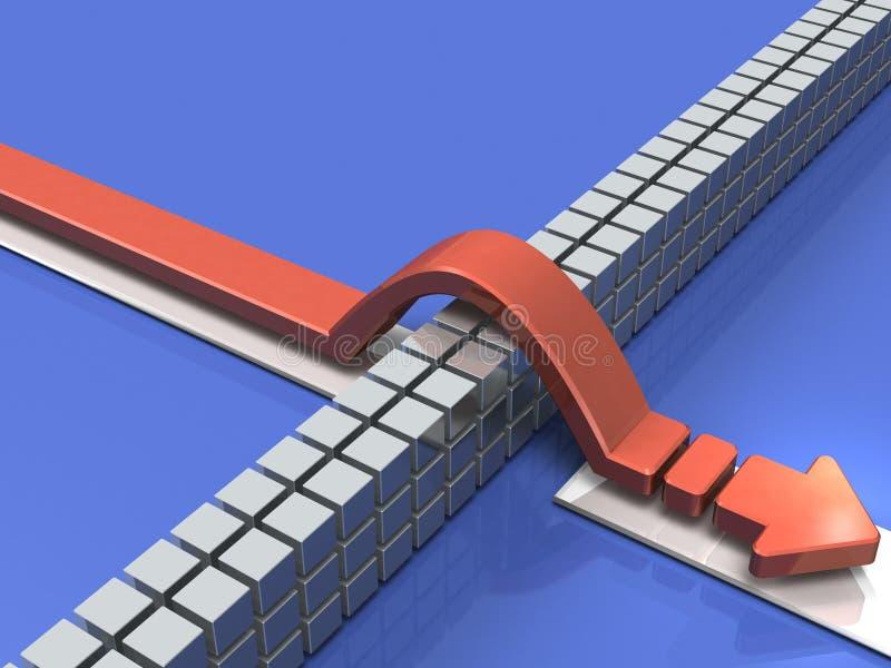 克服障碍的箭头表明成功 向量例证