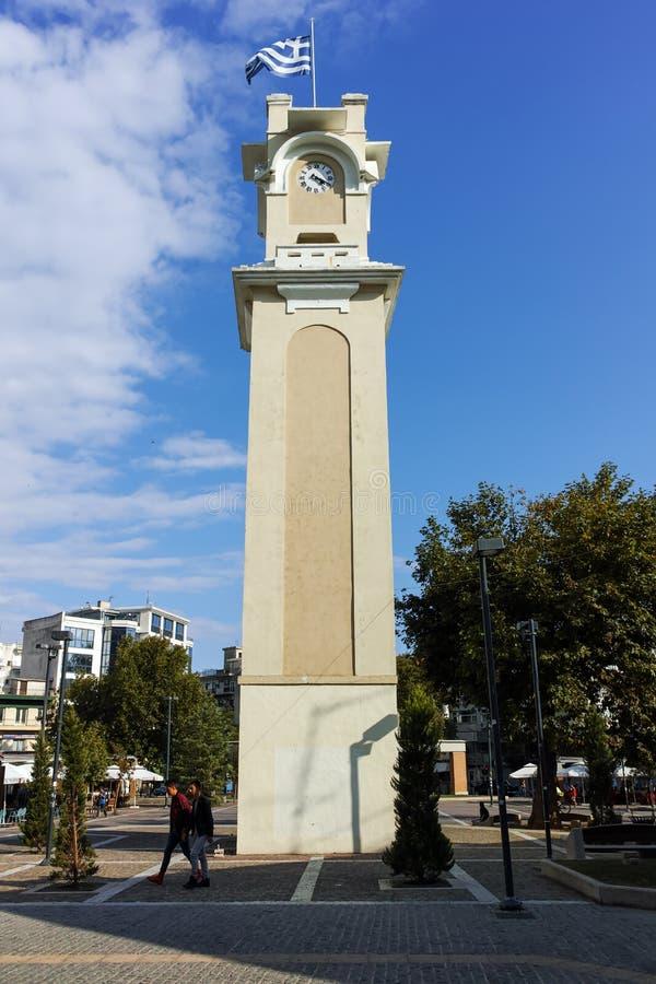 克桑西,希腊- 2017年9月23日:钟楼在克桑西,希腊老镇  免版税库存照片