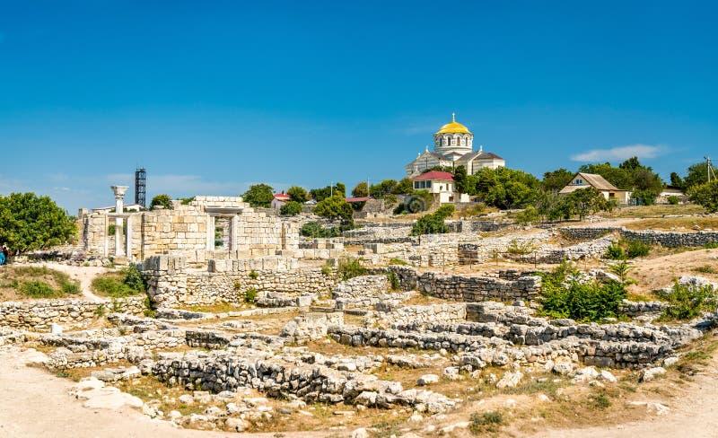 克森尼索,古希腊殖民地废墟  塞瓦斯托波尔,克里米亚 免版税库存照片