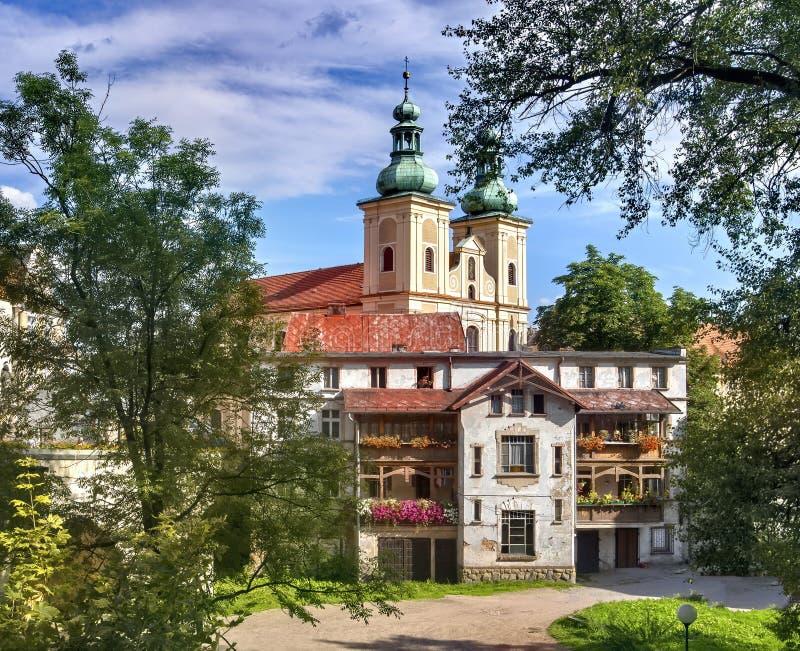 克沃兹科在波兰-充分镇纪念碑 库存图片