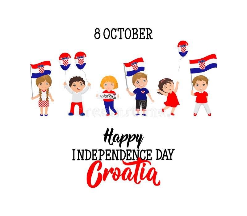 克罗地亚人美国独立日贺卡 克罗地亚10月8日愉快的美国独立日 库存例证
