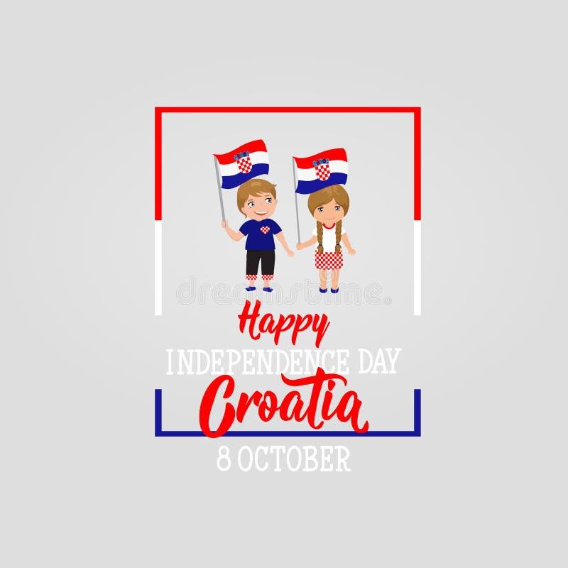 克罗地亚人美国独立日贺卡 10月8日愉快的美国独立日克罗地亚人 库存例证