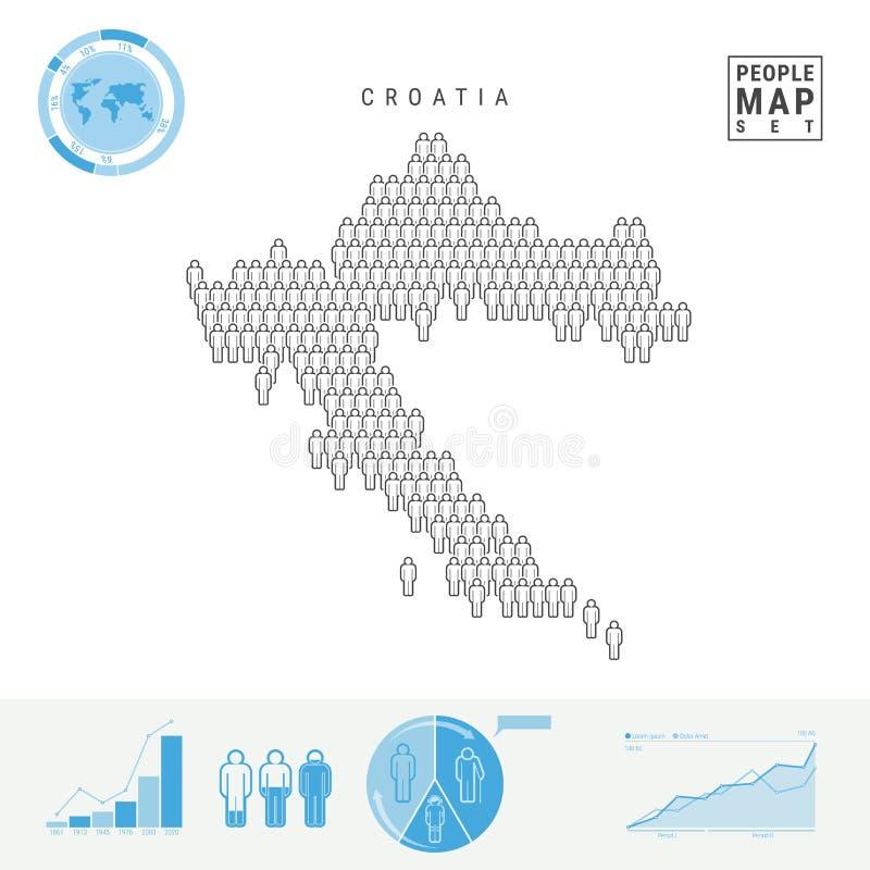 克罗地亚人象地图 克罗地亚的风格化传染媒介剪影 人口增长和老化Infographics 库存例证