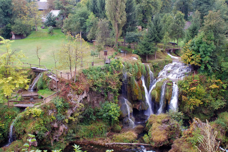 克罗地亚公园slunj瀑布 库存图片