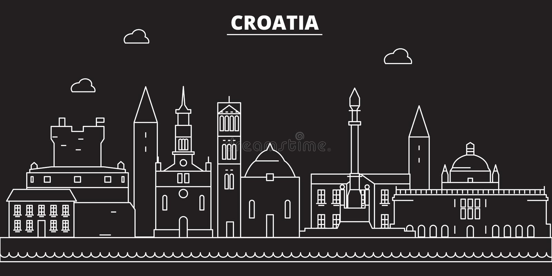 克罗地亚剪影地平线 克罗地亚传染媒介城市,克罗地亚线性建筑学, buildingline旅行例证 皇族释放例证