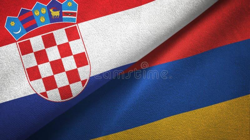 克罗地亚和亚美尼亚两旗子纺织品布料,织品纹理 库存例证